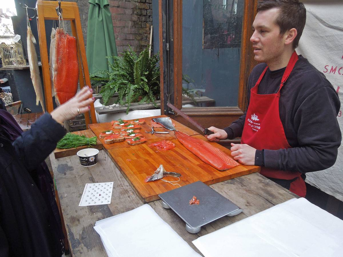 #1 smoked salmon from Ole Hansen with our London Country stick on Rope Walk SE1 3PA - 1:19pm&nbsp;26<sup>th</sup>&nbsp;Jan.&nbsp;'13