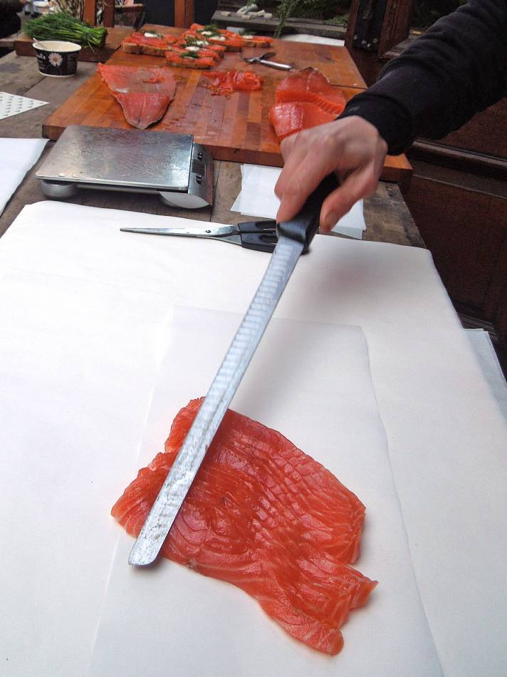 #1 smoked salmon from Ole Hansen with our BBA stick on Rope Walk SE1 3PA - 1:21pm&nbsp;26<sup>th</sup>&nbsp;Jan.&nbsp;'13