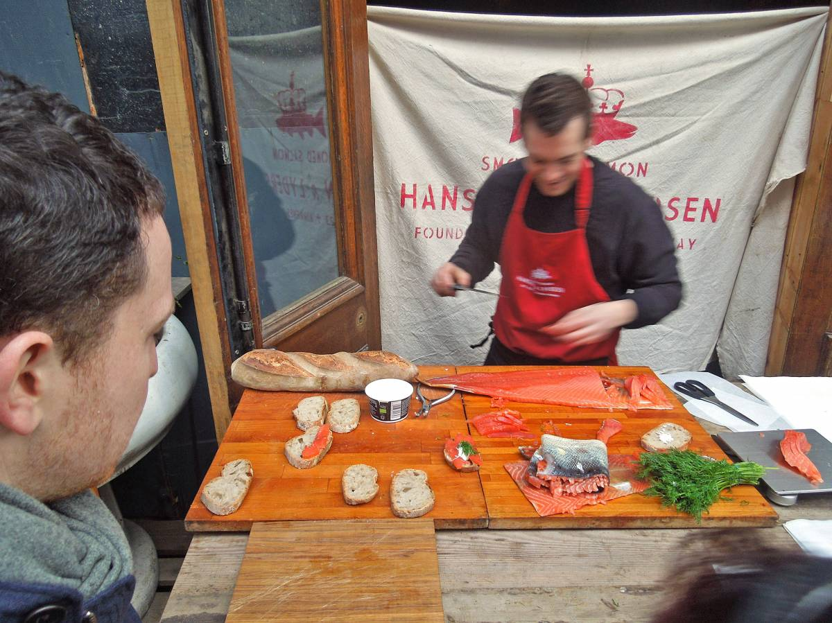 #1 smoked salmon from Ole Hansen with our London Country stick on Rope Walk SE1 3PA - 1:41pm&nbsp;26<sup>th</sup>&nbsp;Jan.&nbsp;'13