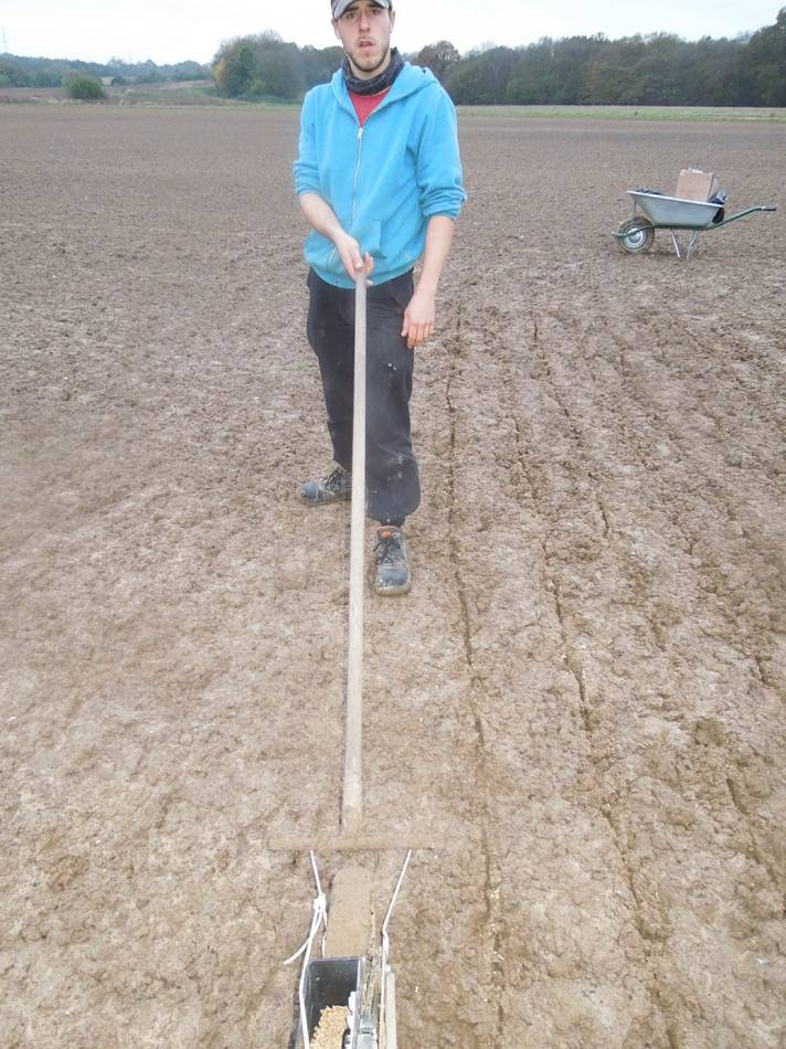 Vincent with our technological leap forward, a puller as well as a pusher on the seed drill, WoWo Farm sowings #2 - 5:21pm&nbsp;7<sup>th</sup>&nbsp;Nov.&nbsp;'12