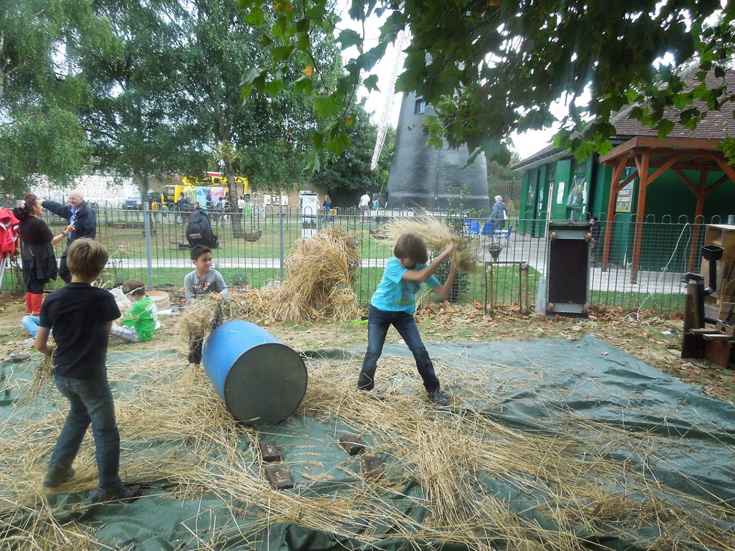 Brixton Windmill Harvest Day, threshing, winnowing and milling our Ruskin Park wheat - 3:55pm&nbsp;18<sup>th</sup>&nbsp;Sep.&nbsp;'16