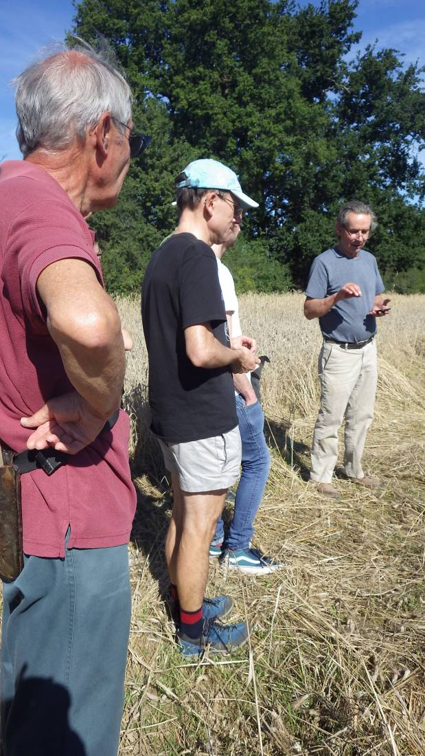 pre-harvest briefing, our manual harvest at Lodge Farm, pics = <a href='http://thecrowsrestbakehouse.co.uk/about/the-baker/' target='_blank'>Alex Vaughan</a> - 9:23am&nbsp;13<sup>th</sup>&nbsp;Aug.&nbsp;'17
