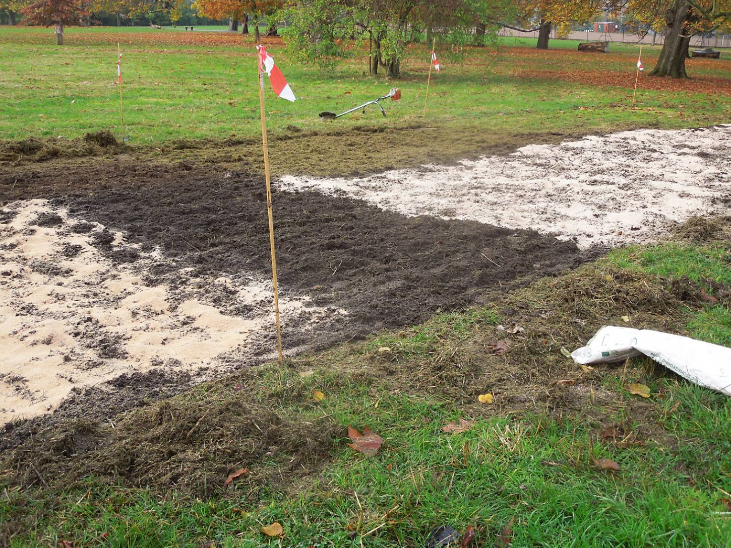 preparing ground for Ruskin Park season 2016/17 - control strip without bran - 1:43pm&nbsp;14<sup>th</sup>&nbsp;Nov.&nbsp;'16