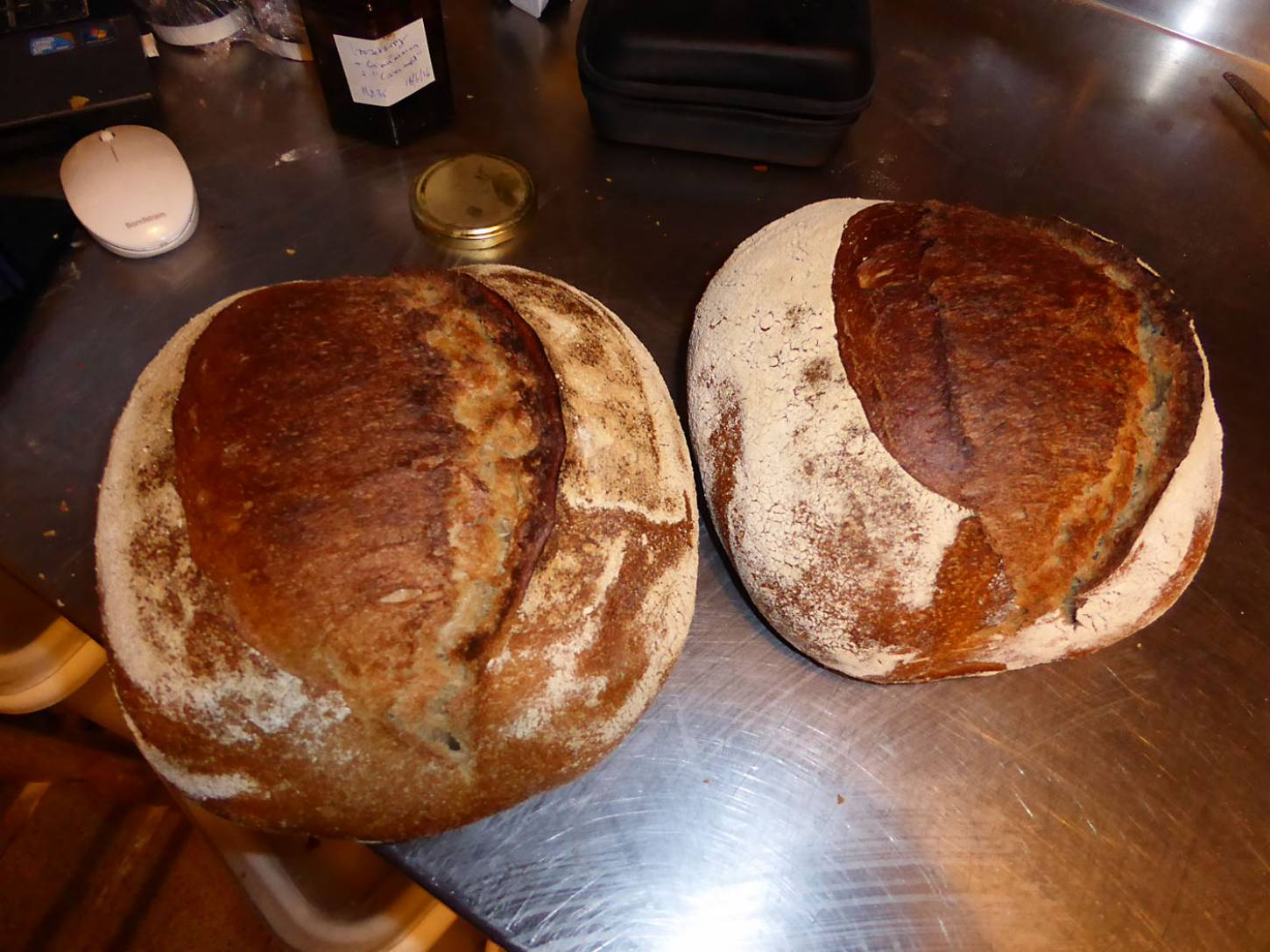 first baking test for the Miller's Choice, + orange juice on the right - 1:13pm&nbsp;23<sup>rd</sup>&nbsp;Nov.&nbsp;'17  <a href='http://maps.google.com/?t=h&q=51.480681,-0.108133&z=18&output=embed' target=_blank><img src='http://www.brockwell-bake.org.uk/img/marker.png' style='border:none;vertical-align:top' height=16px></a>