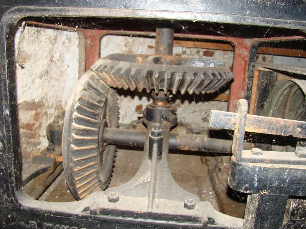 view of bevel gears from opposite side to spout