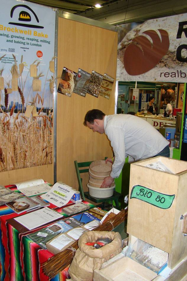 Chris gets to grips with sieving - real food festival 5/5/11