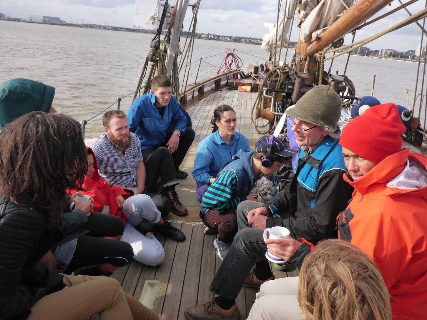 on Gravesend to Port of London leg of <a href='http://https://www.facebook.com/theseedjourney/' target='_blank'>Seed Journey</a> adventure aboard the <a href='http://www.classicboat.co.uk/articles/christiana-from-shipwreck-to-sailing/' target='_blank'>RS10 Christiana</a> 1895 Norwegian Colin Archer rescue boat - on board wheat chat - 4:55pm&nbsp;29<sup>th</sup>&nbsp;Sep.&nbsp;'16
