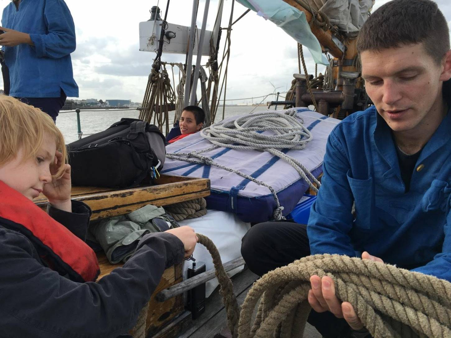 on Gravesend to Port of London leg of <a href='http://https://www.facebook.com/theseedjourney/' target='_blank'>Seed Journey</a> adventure aboard the <a href='http://www.classicboat.co.uk/articles/christiana-from-shipwreck-to-sailing/' target='_blank'>RS10 Christiana</a> 1895 Norwegian Colin Archer rescue boat - making good mooring ropes