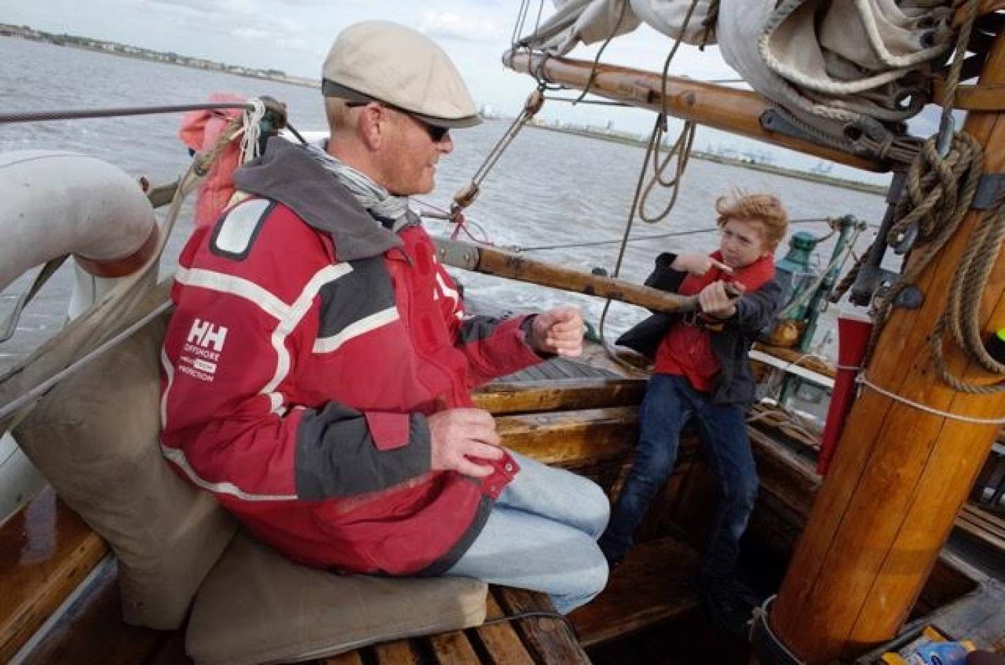 on Gravesend to Port of London leg of <a href='http://https://www.facebook.com/theseedjourney/' target='_blank'>Seed Journey</a> adventure aboard the <a href='http://www.classicboat.co.uk/articles/christiana-from-shipwreck-to-sailing/' target='_blank'>Christiana RS10</a> 1895 Norwegian Colin Archer rescue boat - very junior captain Josh takes helm