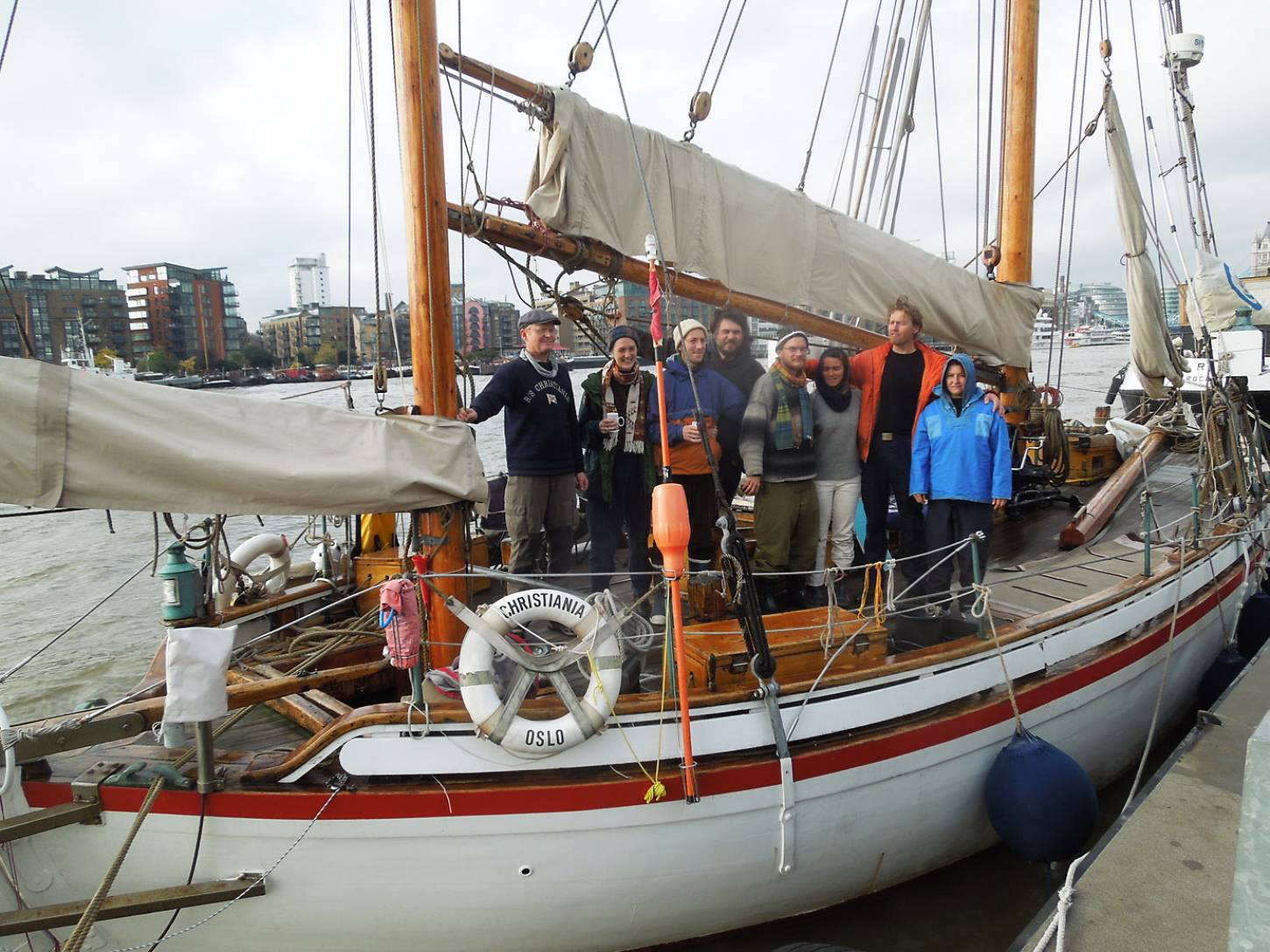 farewell to the <a href='http://https://fr.wikipedia.org/wiki/RS_10_Christiania' target='_blank'>RS10 Christiana</a> and her crew on next leg of their <a href='http://futurefarmers.com/seedjourney/' target='_blank'>seed journey</a> to Antwerp carrying back from BBA some <a href='http://www.wheat-gateway.org.uk/search.php?send=1&per=50&search=de%20flandre&simple=1' target='_blank'>Ble Blanc de Flandre</a> - 11:29am&nbsp;26<sup>th</sup>&nbsp;Oct.&nbsp;'16