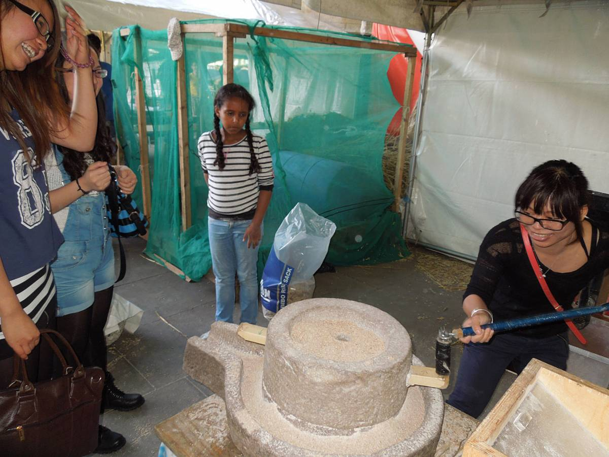 Brockwell Bake at SouthBanquet 13 - day 1 - our Chinese quern in action - 5:43pm&nbsp;30<sup>th</sup>&nbsp;Aug.&nbsp;'13
