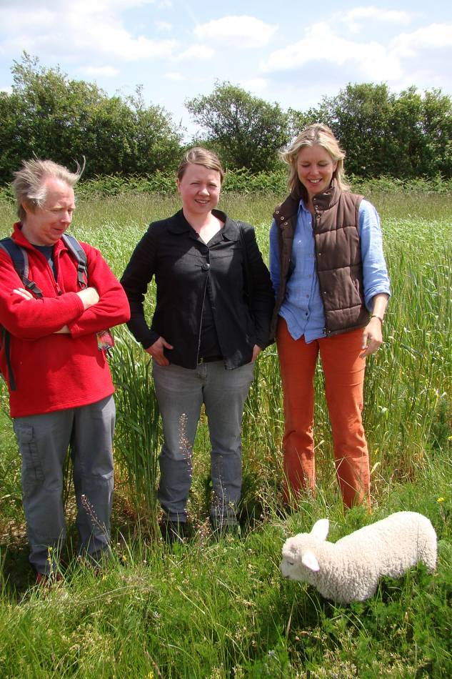 Phil the butcher with Jane from Druid Street and Jayne Duveen and Mary the lamb, crop review Hophurst Farm, 24/5/11