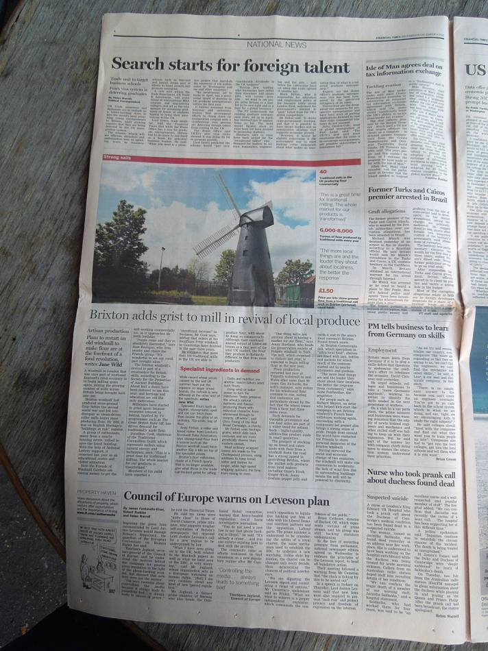 FT Brixton Windmill article, Dec. 8th 2012 - 2:59pm&nbsp;8<sup>th</sup>&nbsp;Dec.&nbsp;'12