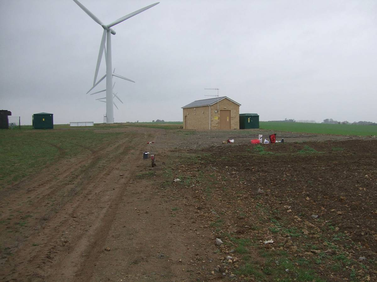 with wind farm, sowing on Westmill Farm, nr. Swindon courtesy farmer Adam Twine, 9/11/11