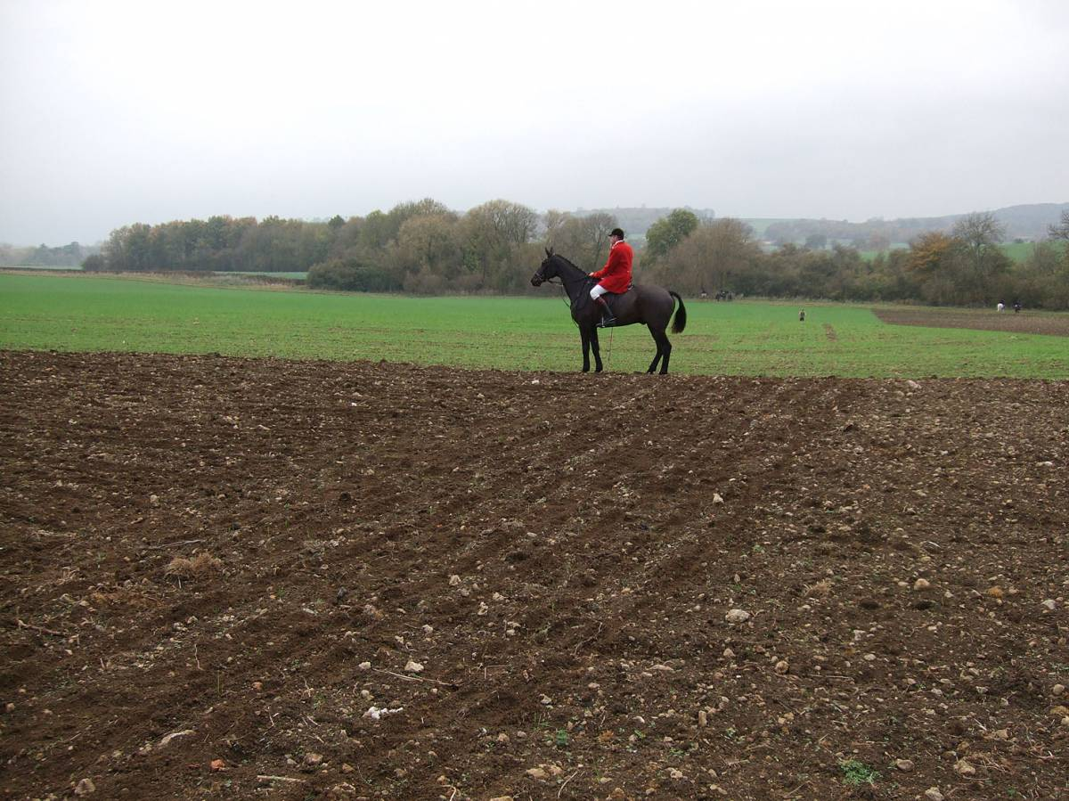 a passing red coat, sowing on Westmill Farm, nr. Swindon courtesy farmer Adam Twine, 9/11/11